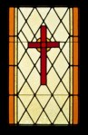 Stained glass cross StJcom St James Episcopal Fremont CA WindowSideDoor-sm