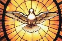 Holy Spirit as dove stained glass